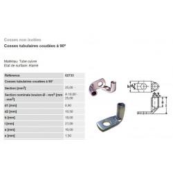 Cosse électrique à sertir coudée 90° type 6-10-16-25 mm²  lot de 2-5-10 pièces