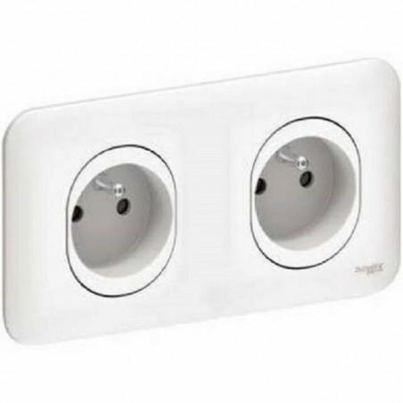Double prise de courant 2P+T 16A avec plaque Schneider Ovalis blanc S260069